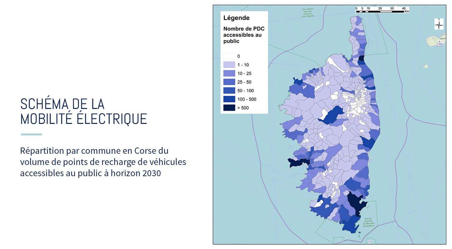 borne de recharge véhicule électrique Corse carte 2030