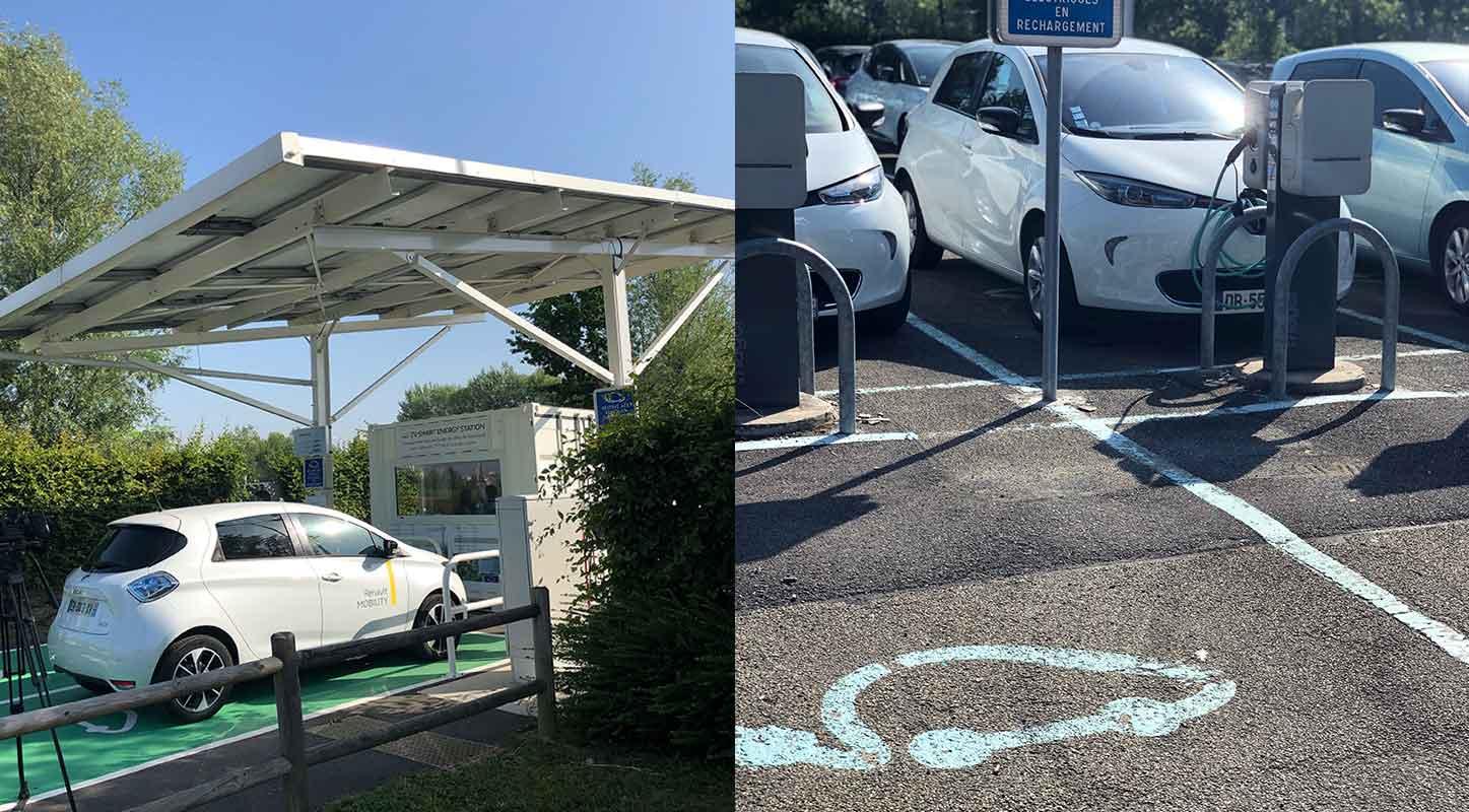 borne de recharge véhicules électrique ombrière parking Renault